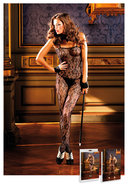 Flower Lace Bodystocking Black (disc)