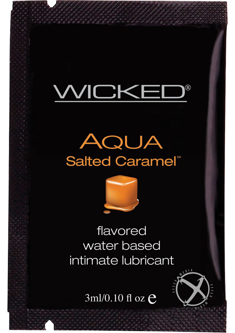 Wicked Aqua Flavored Water Based Foil Packs Salted Caramel .10 Ounce 144 Each Per Bag