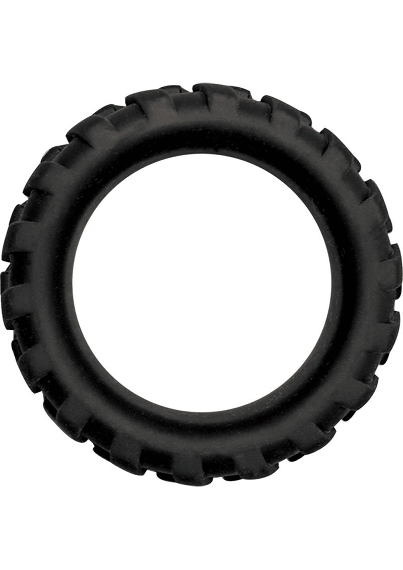 Mack Tuff Large Tire Silicone Cock Ring Waterproof Black 1.45 Inch Diameter