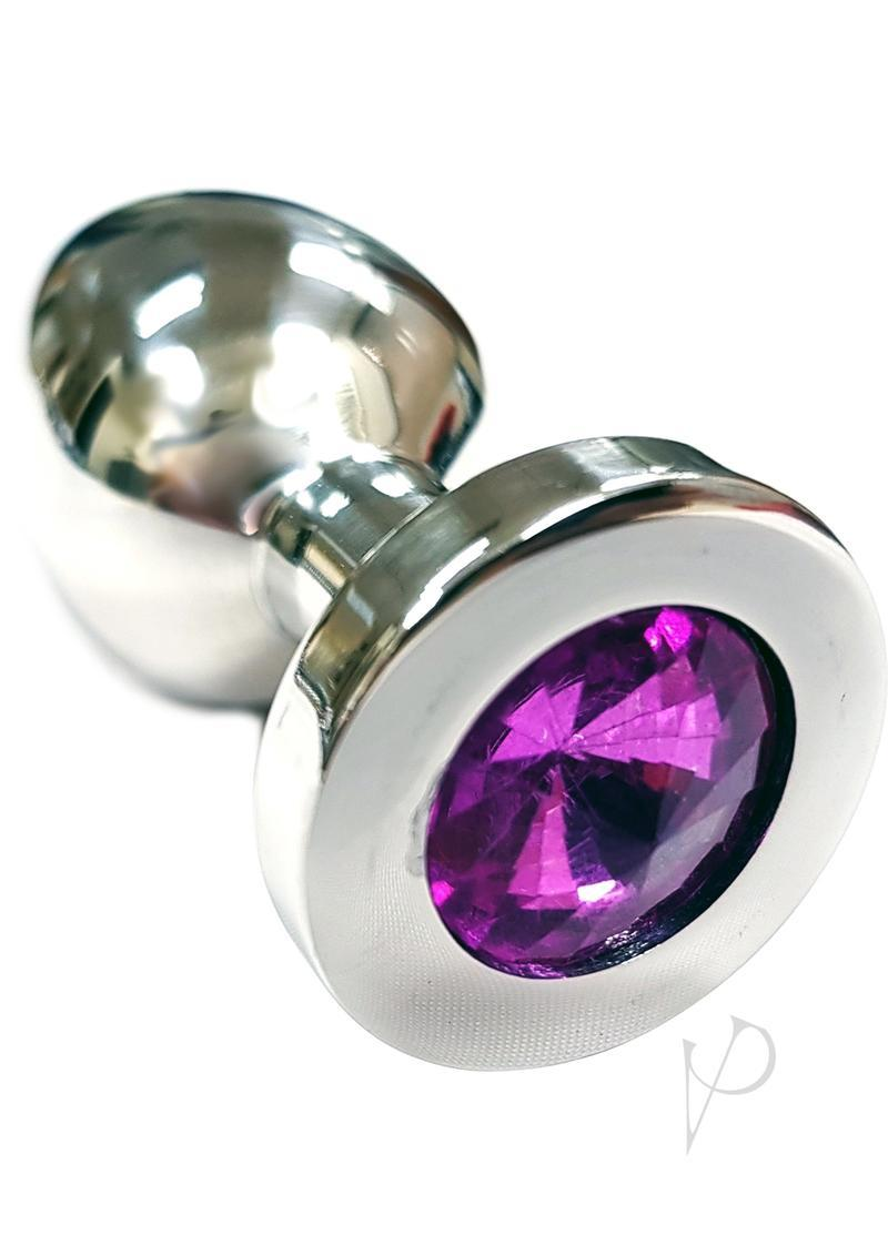 Rouge Jewelled Anal Butt Plug Medium Stainless Steel Dark Pink Jewel